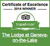 Trip Advisor 2014 Certificate of Excellence